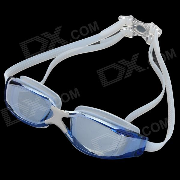Fashion Polycarbonate Lens Silicone Strap Swimming Glasses Goggles w/ Carrying Case - Blue
