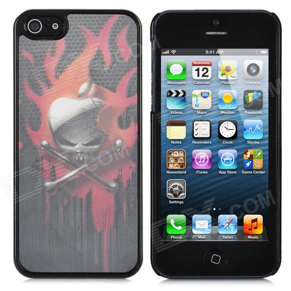 3D Dynamic Apple Skull Pattern Protective Back Case for iPhone 5 - Black + Red
