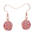 MaDouGongZhu R092-11 Allergy Free Charming Rhinestone Ball Earrings - Golden + Deep Pink (Pair)