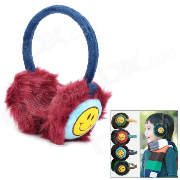 ANYYHAT Warm Plush Earmuffs w/ Smiley Face Pattern for Kids - Purple Red + Blue + Yellow