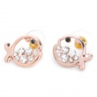 MaDouGongZhu R059-3 Cute Fish Style Ear Studs - Golden + White (Pair)