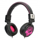 SNIKE QHP-999 Cool Skull Pattern Headphone Headset w/ Microphone - Deep Pink + Black (3.5mm Plug)