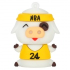 Cute Cartoon NBA Pig Style USB 2.0 Flash Drive - White + Yellow (8GB)