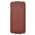 BERES B12 Protective Top-Flip Genuine Leather Case for Iphone 5 - Brown