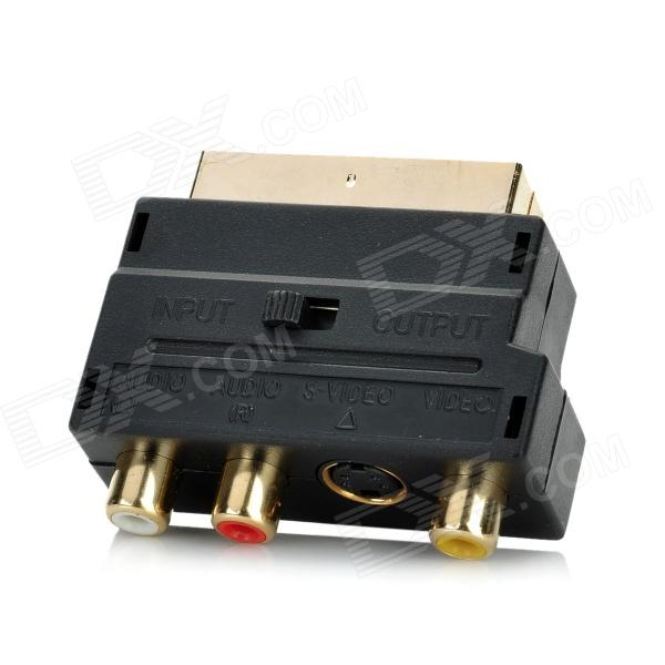 Scart 21-Pin Male to S-Video + 3-RCA Female Adapter - Black