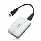 SSK SCRM056 USB 3.0 5Gbps High-Speed Multifunctional Card Reader - White + Silver Grey (Max 64GB)