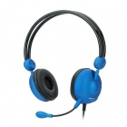 Keenion KOS-659 Stereo Headset Headphones w/ Mic + Volume Control for PC - Black + Blue (3.5mm Plug)