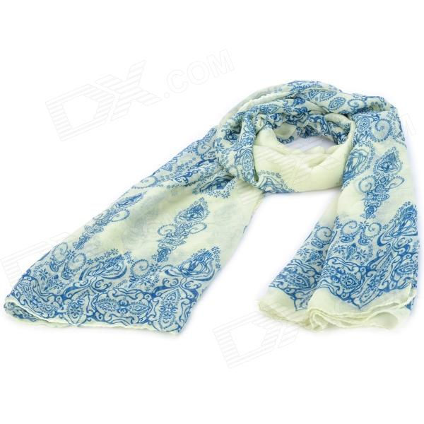 Blue and White Porcelain Pattern Lady's Soft Cotton Long Shawl Scarf - Blue + White active long sleeve blue and white women s crossover playsuit