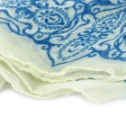 Blue and White Porcelain Pattern Lady's Soft Cotton Long Shawl Scarf - Blue + White