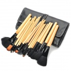 Professional 24-in-1 Cosmetic Makeup Brushes Set w/ PU Leather Bag - Black