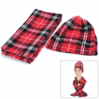 Grid Pattern Fashion Lady's Polar Fleece Warmer Cap + Scarf - Red + Black