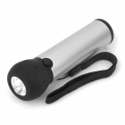 Hand Crank Powered 3-LED 23000MCD White Dynamo Flashlight - Silver + Black