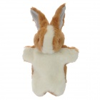 Cute Rabbit Plush Doll Finger Toy - Ochre Brown + White