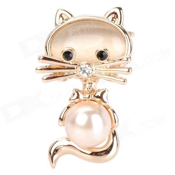 Cute Cat Shaped Aluminum Alloy Lady's Brooch - Golden