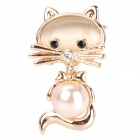 Cute Cat Shaped Aluminum Alloy Lady&#039;s Brooch - Golden