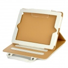 Classic Handheld Briefcase Design Protective PU Leather Cover Case for Ipad 2 / The New Ipad - White