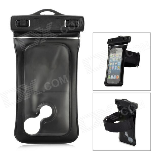 Protective Waterproof PVC Bag w/ Armband / Strap for Iphone 5 - Black universal waterproof protective pvc bag w armband strap for iphone 4 4s 5 white black