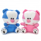 Cute Bear Figure Plush Doll Toy w/ Suction Cup - Pink + White + Blue + Black (2 PCS)