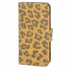 Leopard Style Protective PU Leather Case for Iphone 5 - Black + Yellow