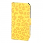 Leopard Style Protective PU Leather Case for iPhone 5 - Yellow