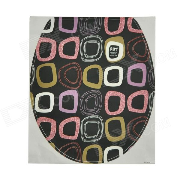Stylish Self-Adhesive Toilet Seat Cover Sticker - Black + Purple + White