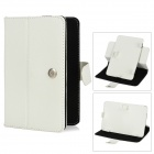"Lichee Pattern Protective 360 Degree Rotation PU Leather Case Stand w/ Stylus for 7"" Tablet - White"