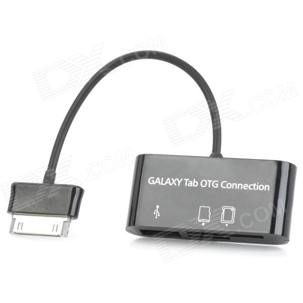 цена OTG Connection Kit MS / SD / SDHC / MMC / MMC2 / TF Card Reader for Galaxy Tab - Black онлайн в 2017 году