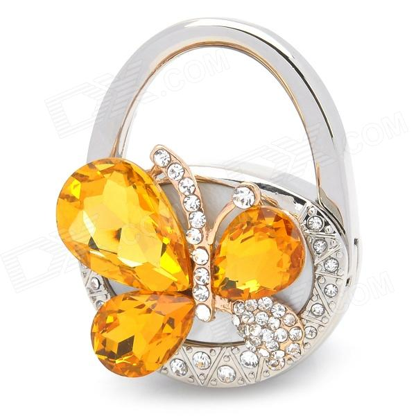 S-61 Handbag Style with Crystal Butterfly Design Bag Hanger Holder Hook - Yellow + Silver