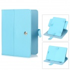 "Lichee Pattern Protective 360 Degree Rotation PU Leather Case Stand w/ Stylus for 8"" Tablet - Blue"