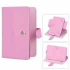 "Lichee Pattern Protective 360 Degree Rotation PU Leather Case Stand w/ Stylus for 7"" Tablet - Pink"