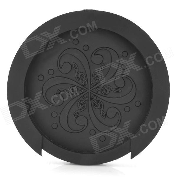 Music Note Pattern Rubber Guitar Sound Hole Cover - Black