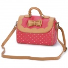 BANI RABBIT 0020Q Butterfly Tie PU Leather Aslant / Shoulder / Hand Bag - Red + Brown