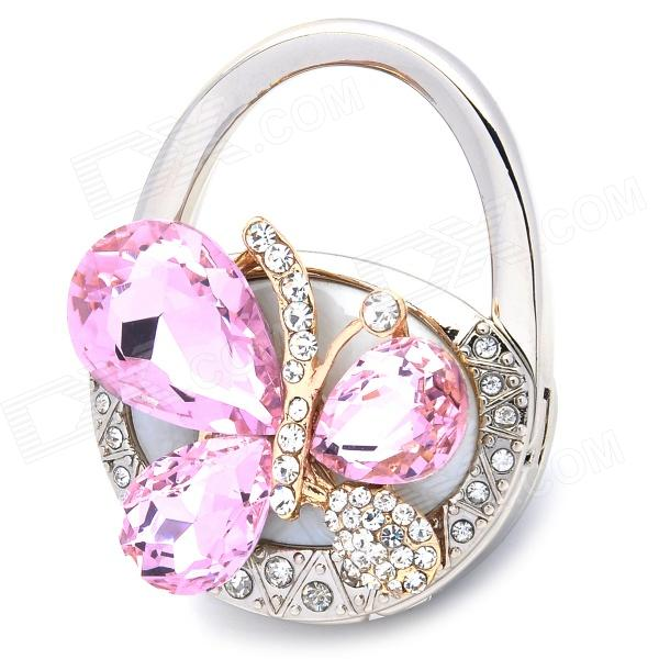 S-60 Handbag Style with Crystal Butterfly Design Bag Hanger Holder Hook - Pink + Silver