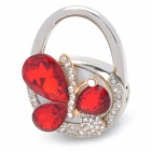 S-62 Handbag Style with Crystal Butterfly Design Bag Hanger Holder Hook - Red + Silver