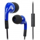 Q9i In-Ear Earphones w/ Microphone for Iphone / Ipad / HTC- Black + Blue (115cm-Cable / 3.5mm Plug)