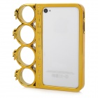 Ghost Head Rings Style Protective Plastic + PC Plating Frame for iPhone 4 / 4S - Champagne Gold