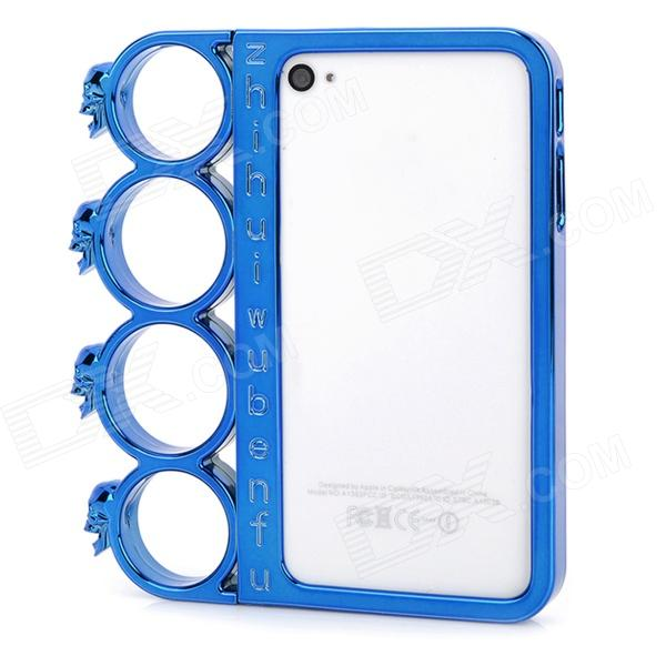 Ghost Head Rings Style Protective Plastic + PC Plating Frame for Iphone 4 / 4S - Bright Blue