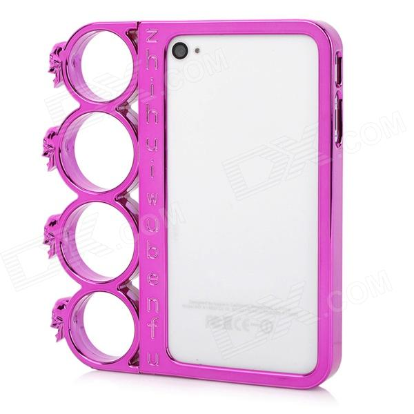 Ghost Head Rings Style Protective Plastic + PC Plating Frame for Iphone 4 / 4S - Deep Pink protective aluminum alloy bumper frame case for iphone 4 4s deep pink