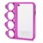 Ghost Head Rings Style Protective Plastic + PC Plating Frame for Iphone 4 / 4S - Deep Pink