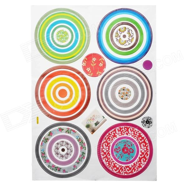 Decorative Colorful Circle Style PVC Wall Paper Sticker - Multi-Color (50 x 70cm) glow in the dark dog footprint style decoration wall paper sticker green