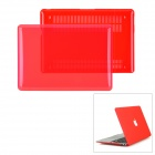 Protective Top Flip Open Case Cover for Mac Book Air 11.6 - Transparent Red