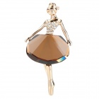 Ballet Girl Shaped Aluminum Alloy + Rhinestone Lady&#039;s Brooch - Sienna