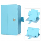 "Protective Swivel PU Leather Case Cover for 7"" Tablet w/ Touch Screen Stylus Pen - Light Blue"