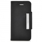 Lychee Pattern Protective Flip-open PU + PC Case w/ Card Slot for Iphone 5 - Black
