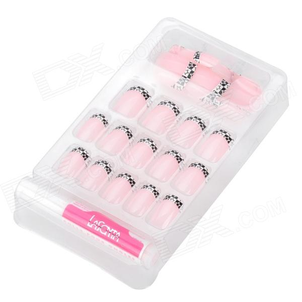 ZX-1201 Art Design Star Pattern Decorative False Nail Tips - Pink + Black (24 PCS) bz2026 art design rose pattern decorative false nail tips black white 24 pcs