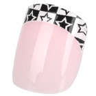 ZX-1201 Art Design Star Pattern Decorative False Nail Tips - Pink + Black (24 PCS)