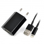 USB Data / Charging 8-pin Blitz Cable + EU Plug Power Adapter für iPhone 5 Set - Schwarz