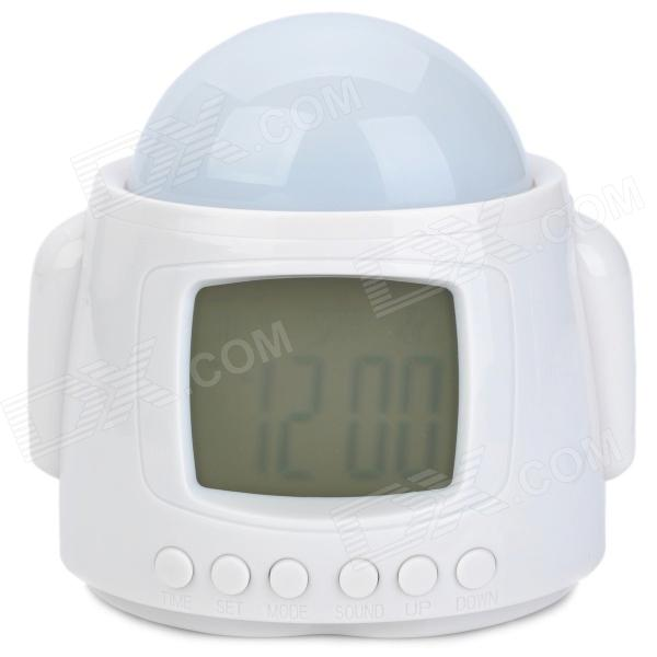 Robot Style Music Alarm Clock + Thermometer + Calendar + Star Projector - White (3 x AAA ) novelty run around wake up n catch me digital alarm clock on wheels white 4 aaa