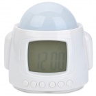 Robot Style Music Alarm Clock + Thermometer + Calendar + Star Projector - White (3 x AAA )