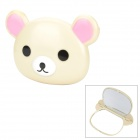 GJ001 Bear Style Portable Plastic Makeup Cosmetic Mirror - Beige
